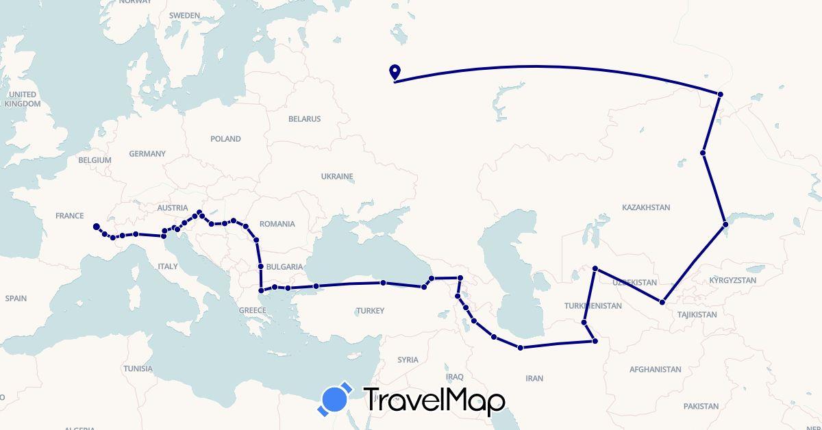 TravelMap itinerary: driving in Armenia, Azerbaijan, Bulgaria, France, Georgia, Greece, Hungary, Iran, Italy, Kazakhstan, Romania, Russia, Slovenia, Turkmenistan, Turkey, Uzbekistan (Asia, Europe)
